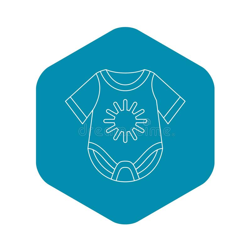 Baby bodysuit icon, outline style. Baby bodysuit icon in outline style on a white background vector illustration stock illustration
