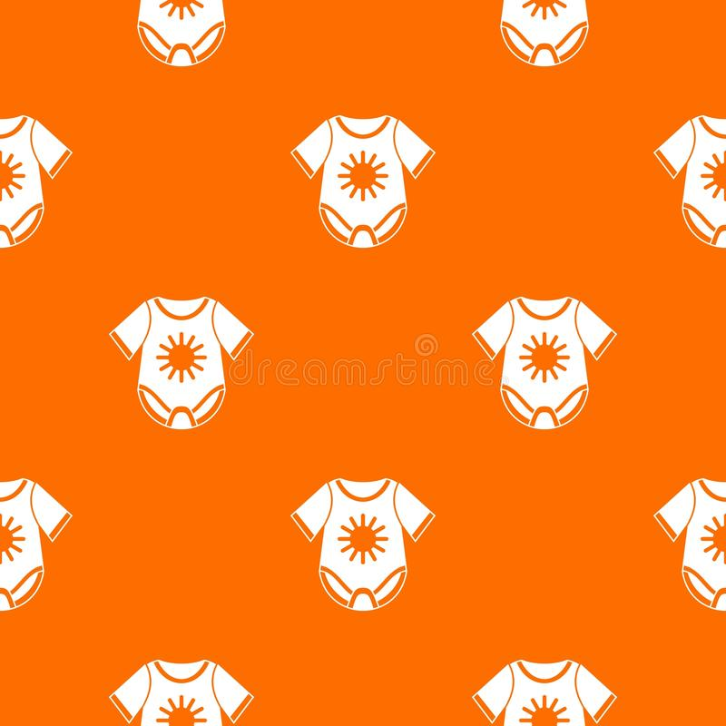Baby bodysuit pattern seamless. Baby bodysuit pattern repeat seamless in orange color for any design. Vector geometric illustration royalty free illustration