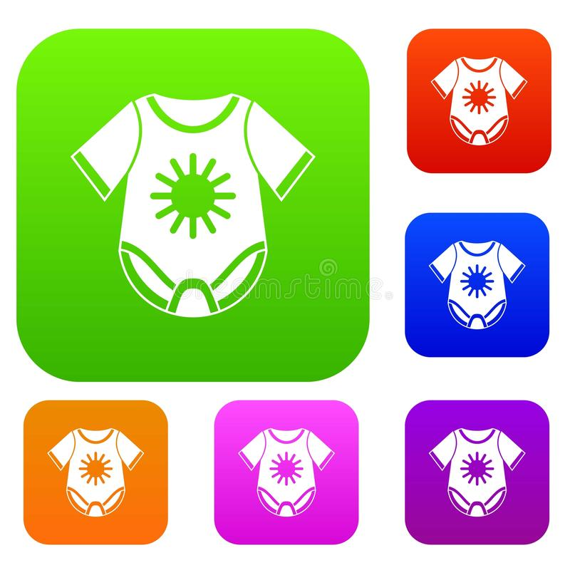 Baby bodysuit set collection. Baby bodysuit set icon in different colors isolated vector illustration. Premium collection vector illustration