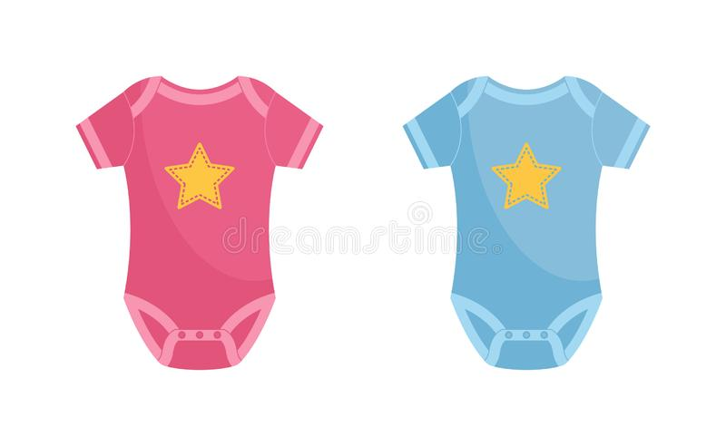 Baby bodysuit vector illustration set - pink and blue newborn wearing decorated with yellow star. stock illustration