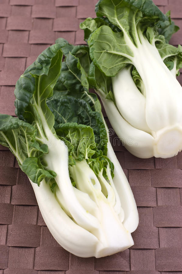 Baby Bok Choy. Whole fresh uncooked Baby Bok Choy in vertical format stock photos