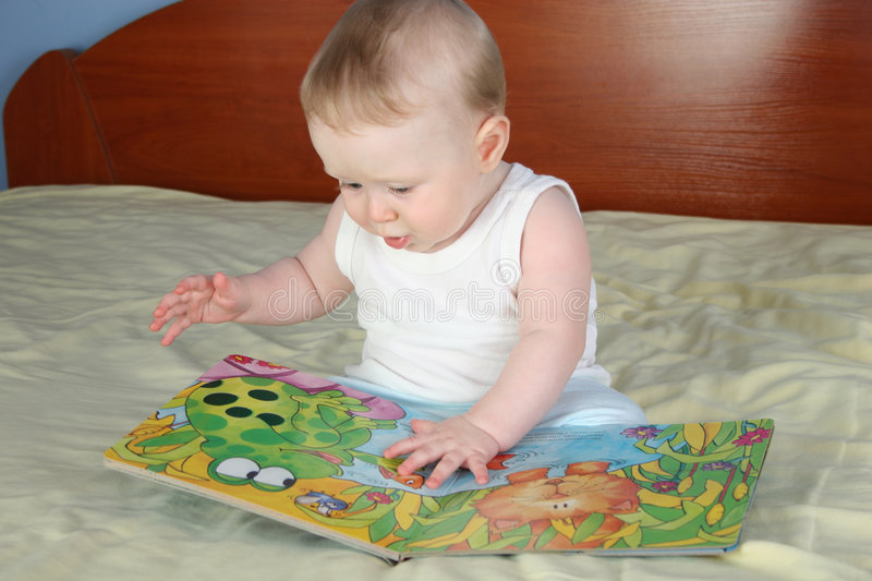 Download Baby with book stock photo. Image of elementary, finger - 1705446