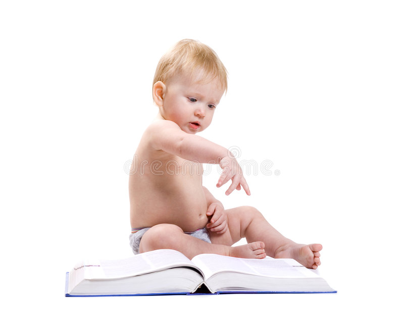 Download Baby and a book stock photo. Image of book, child, interesting - 4723662