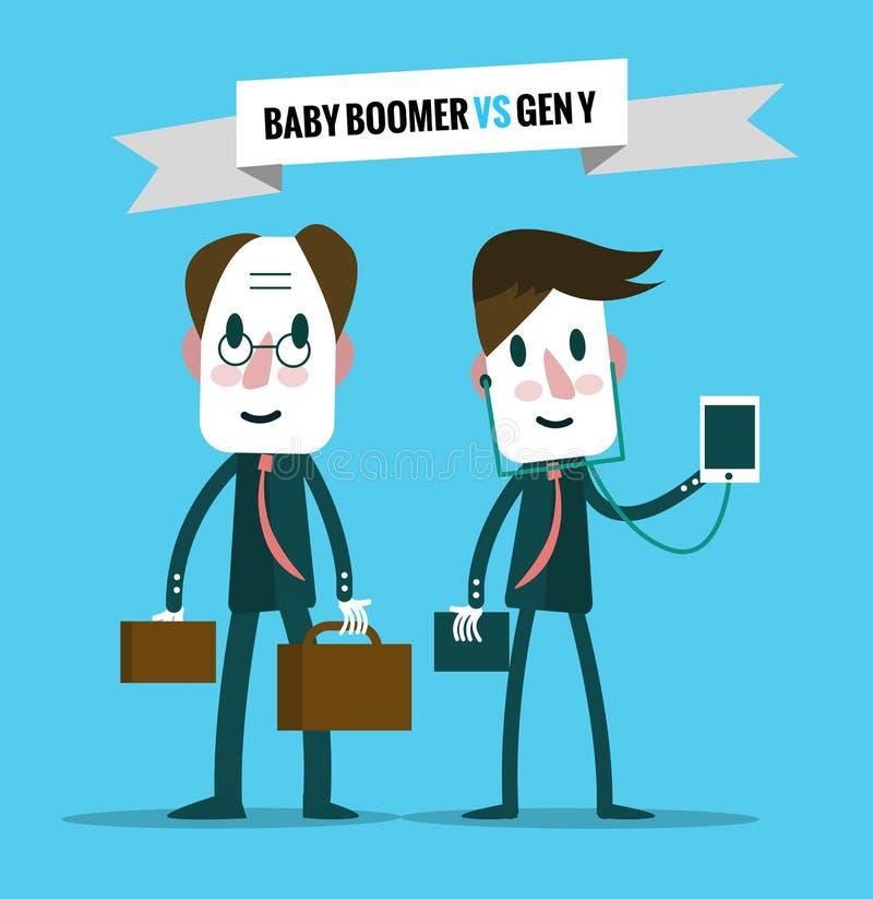 Baby boomers CONTRE la génération y Ressource humaine d'affaires illustration stock