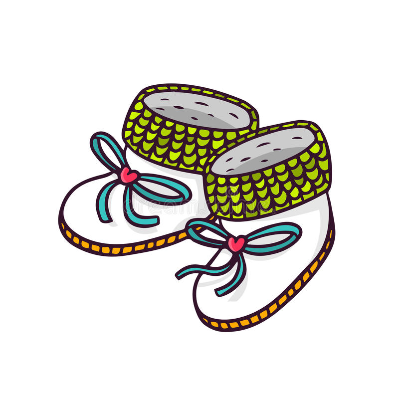 Baby booties, bright vector children illustration of infant knitted shoes on white stock illustration
