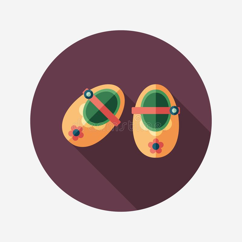 Baby booties flat round icon with long shadows. vector illustration