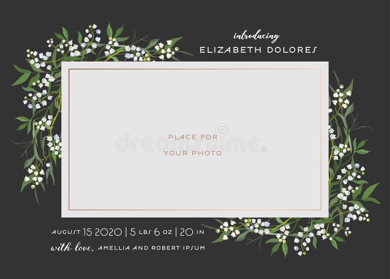 Baby Born Greeting Card with Floral Elements. Baby Shower Template Photo Frame with Lily Flowers. Newborn Child Wedding Invitation. Baby Born Greeting Card with vector illustration