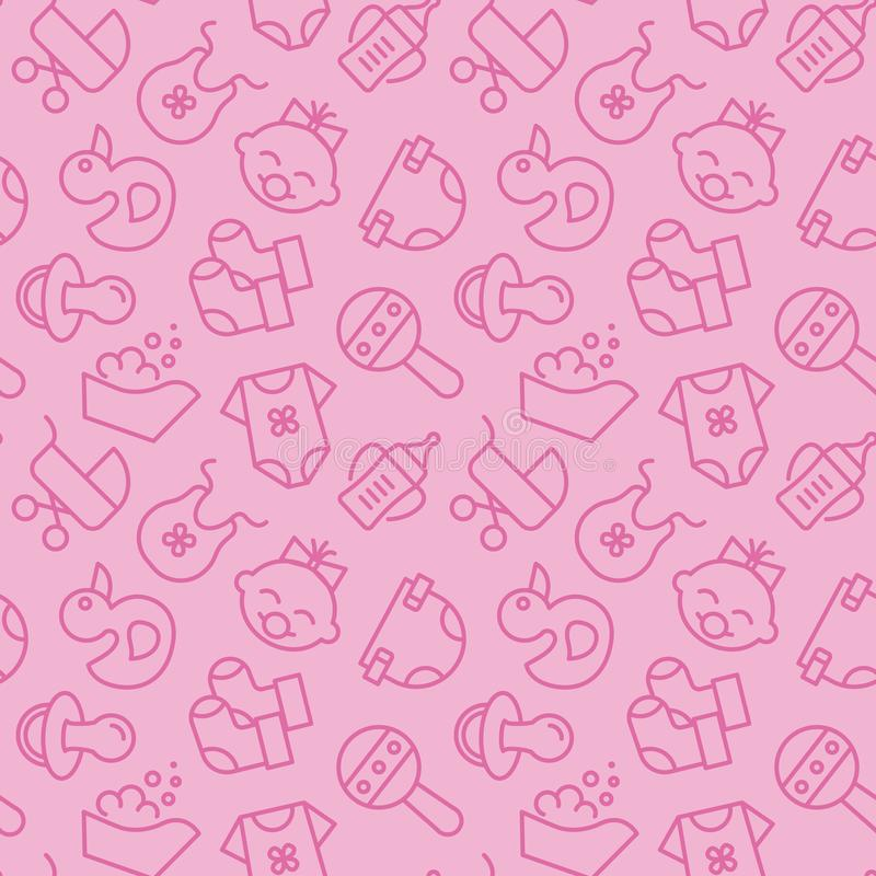 Baby born related pink seamless pattern - outline icons of newborn accessories elements in cute backdrop. vector illustration