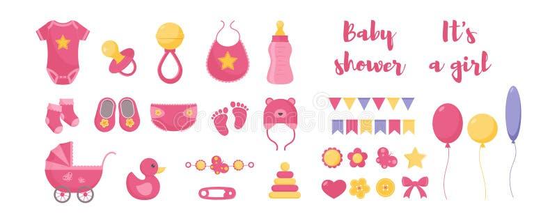 Baby born vector illustration set - various toddler equipment for little girl and decorative elements. Baby born vector illustration set - various toddler stock illustration