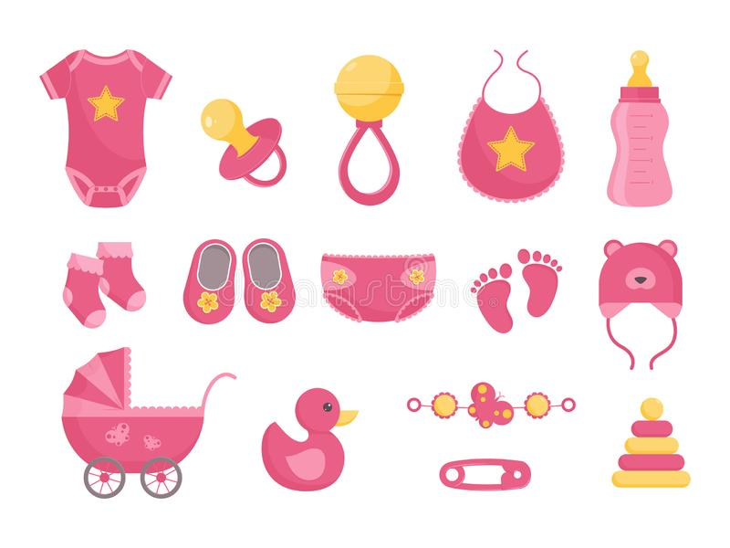 Baby born vector illustration set - various toddler equipment for little girl in flat style. Pink newborn nursing and health care and hygiene products isolated royalty free illustration
