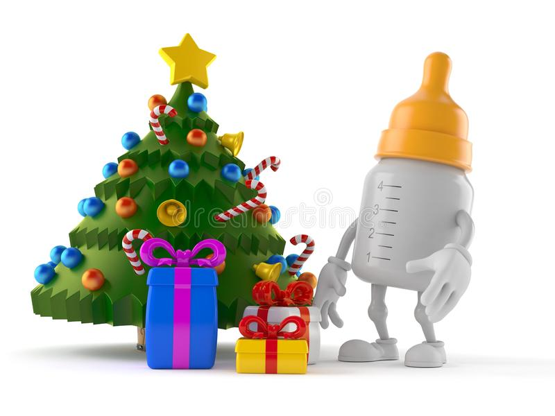 Baby bottle character with christmas tree and gifts. Isolated on white background. 3d illustration stock illustration