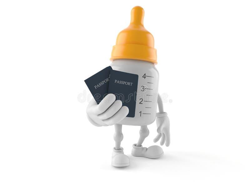 Baby bottle character holding passports. Isolated on white background. 3d illustration stock illustration