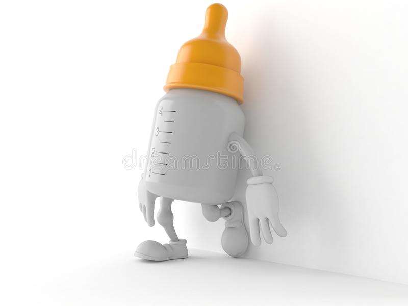 Baby bottle character leaning on wall on white background. 3d illustration royalty free illustration