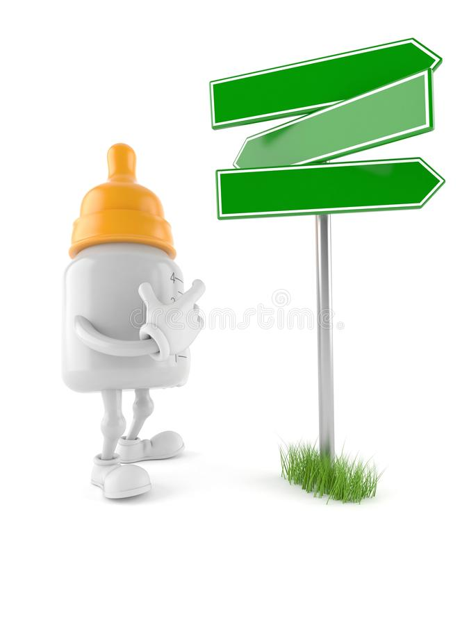 Baby bottle character with signpost. Isolated on white background royalty free illustration