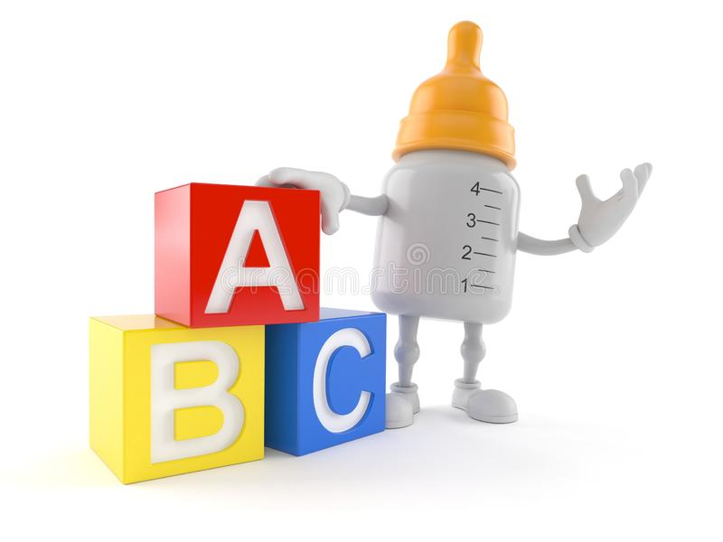 Baby bottle character with toy blocks. Isolated on white background. 3d illustration royalty free illustration