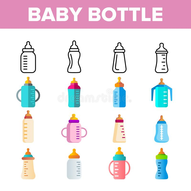 Baby Bottle, Childcare Equipment Vector Linear Icons Set. Baby Bottles with Latex, Silicone Nipples for Feeding Infants. Sippy Cups Thin Line Pictograms royalty free illustration