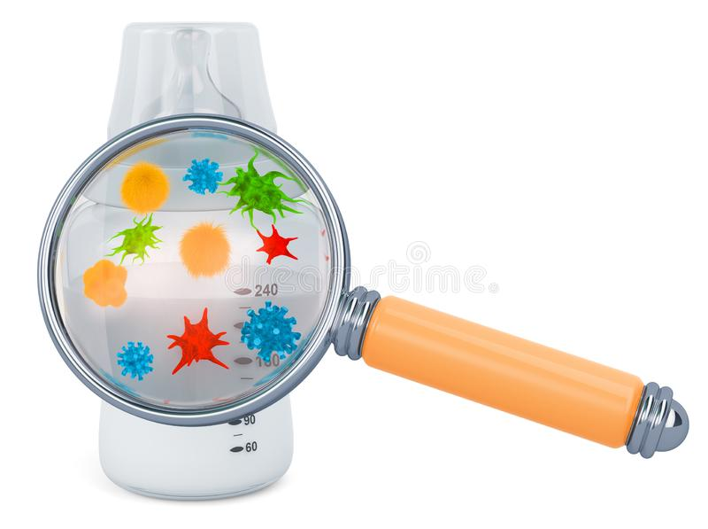Baby bottle with germs and bacterias under magnifying glass, 3D rendering. Baby bottle with germs and bacterias under magnifying glass, 3D vector illustration