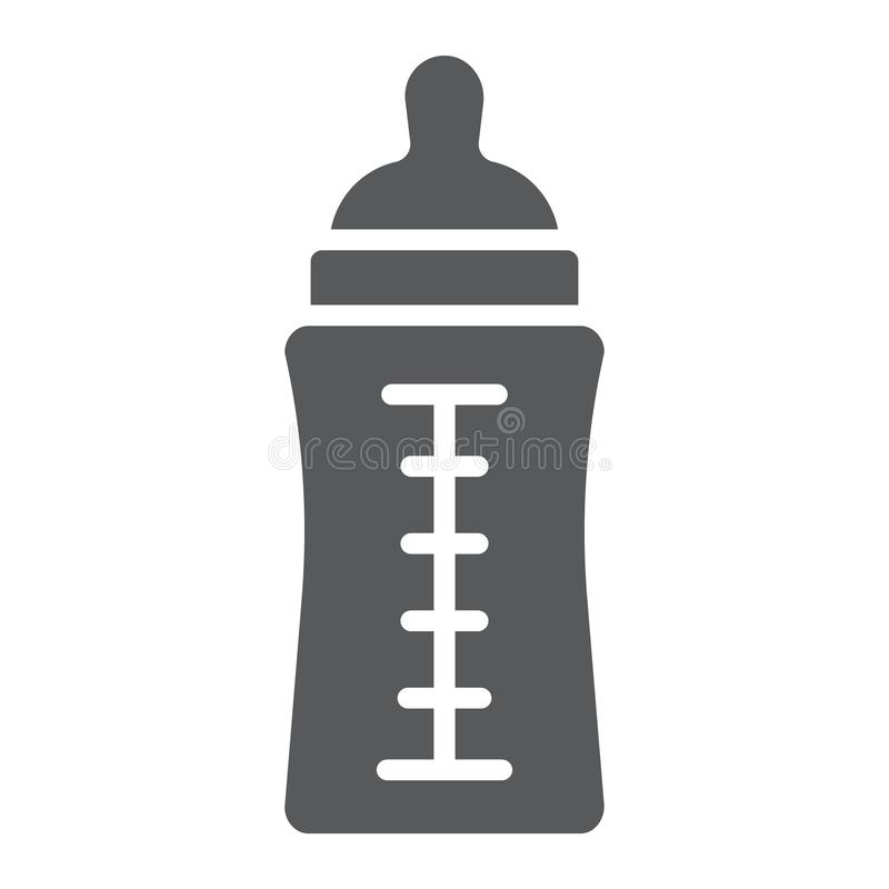 Baby bottle glyph icon, feed and milk, container sign, vector graphics, a solid pattern on a white background. stock illustration