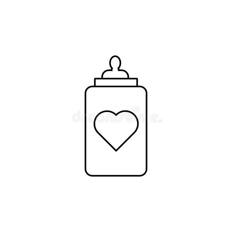Baby bottle with a heart icon stock illustration
