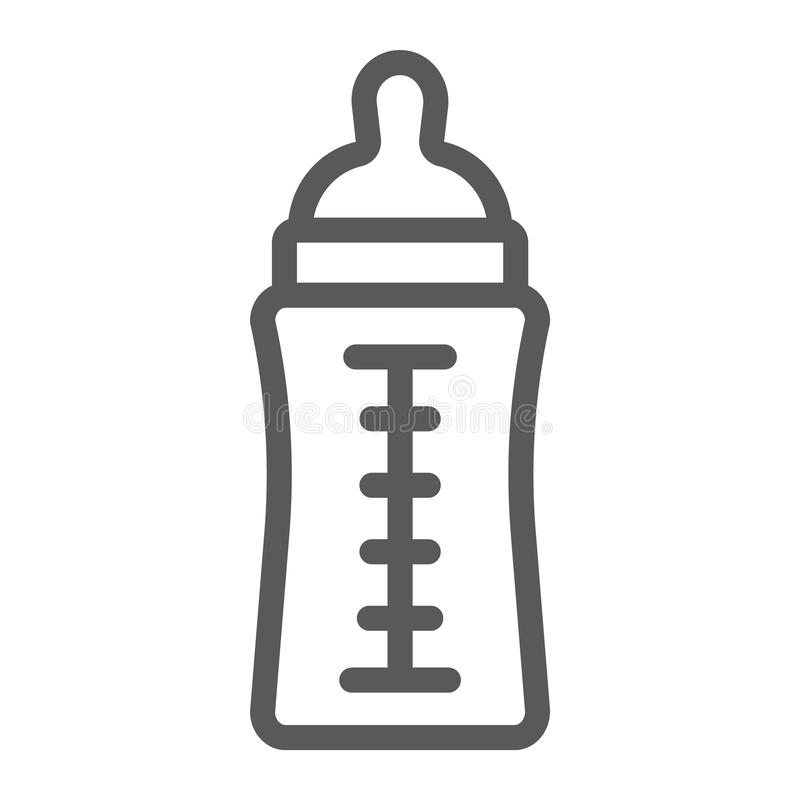 Baby bottle line icon, feed and milk, container sign, vector graphics, a linear pattern on a white background. stock illustration