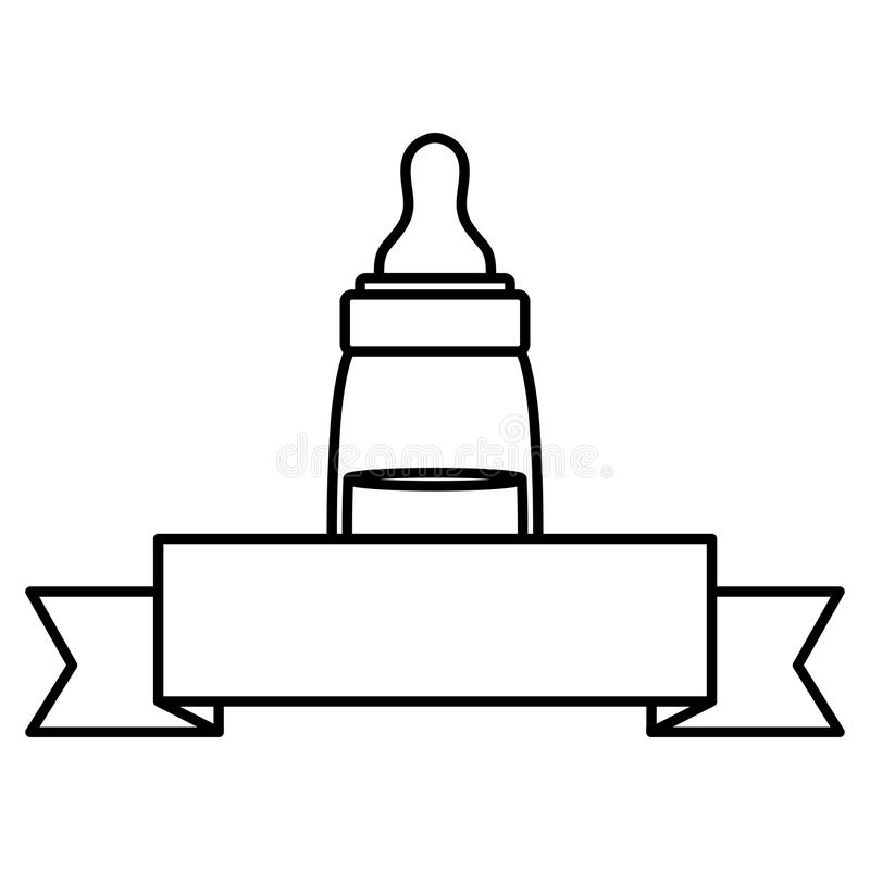 Baby bottle milk with ribbon frame. Vector illustration design royalty free illustration
