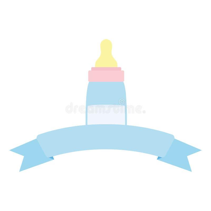 Baby bottle milk with ribbon frame. Vector illustration design stock illustration