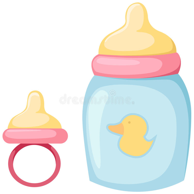 Baby bottle and pacifier. Illustration of isolated baby bottle and pacifier on white stock illustration
