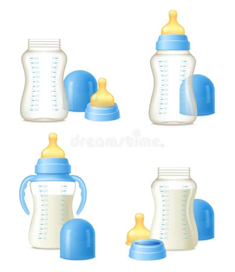 Baby Bottle Realistic Constructor Set. Durable baby milk bottles constructor 4 realistic compositions set with easy to hold grips isolated vector illustration vector illustration