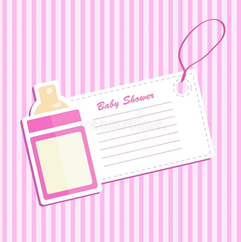 Baby bottle shower. Invitation card royalty free illustration