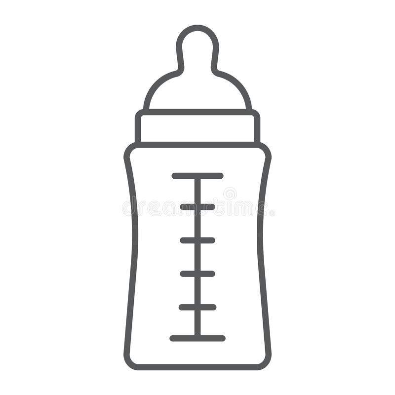 Baby bottle thin line icon, feed and milk, container sign, vector graphics, a linear pattern on a white background. Baby bottle thin line icon, feed and milk vector illustration