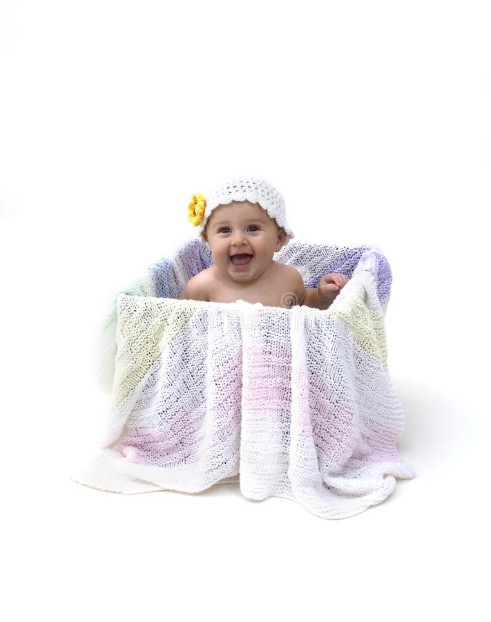 Baby in Box royalty free stock photography