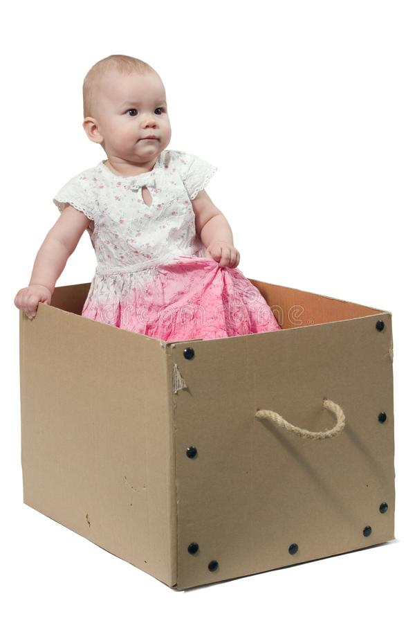Baby in the box royalty free stock photo
