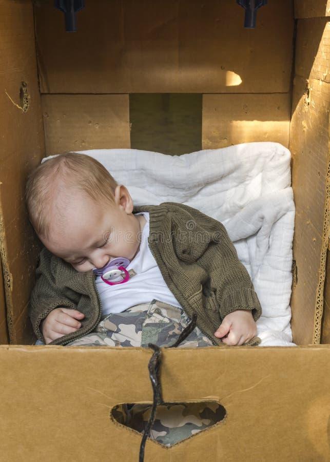 Download Baby in box stock photo. Image of comforter, sleep, card - 33226254