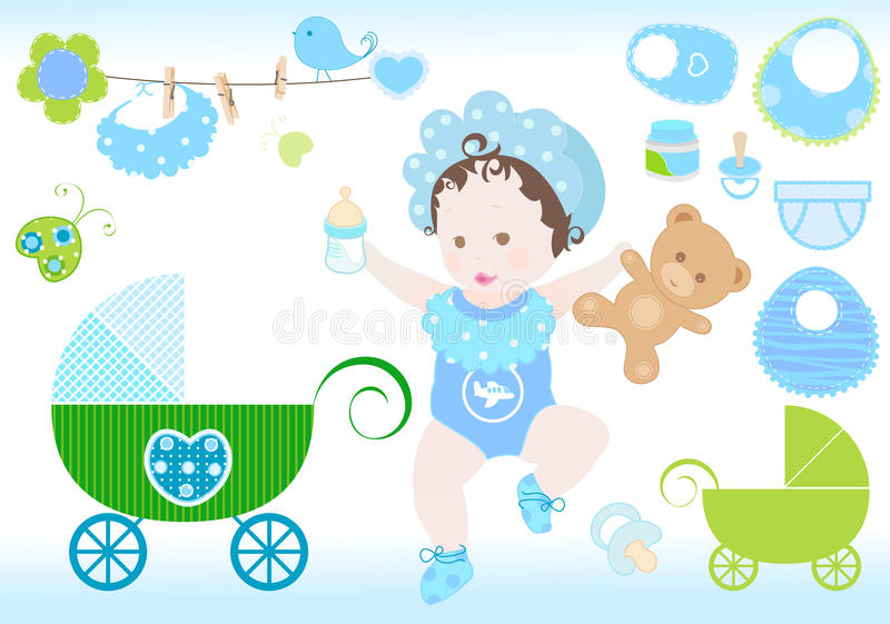 Baby boy. Sweet baby boy various elements set vector illustration