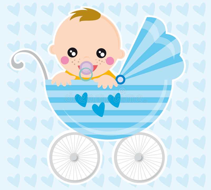 Baby boy. Illustration of baby boy and pram in the background with hearts