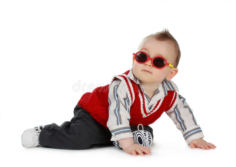 Baby boy (8 months). Adorable 8 months caucasian baby boy with sunglasses stock photo