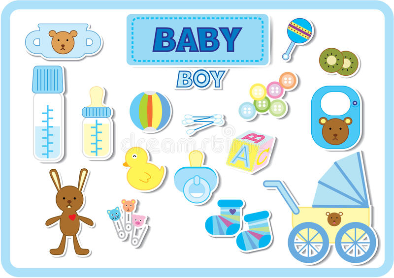 Baby boy accessories. Baby accessories for boy in blue tone color royalty free illustration