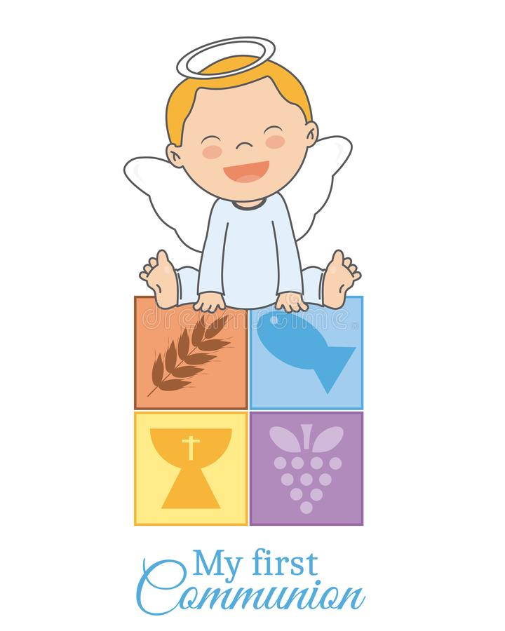 Baby boy angel sitting on religious icons vector illustration