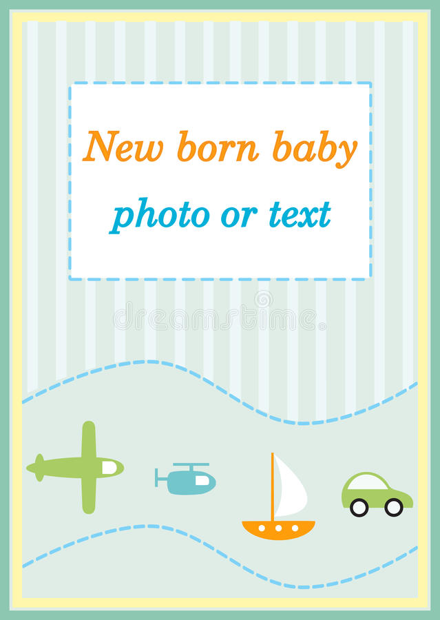 Baby boy announcement arrival card. Baby boy arrival birthday card background illustration stock illustration