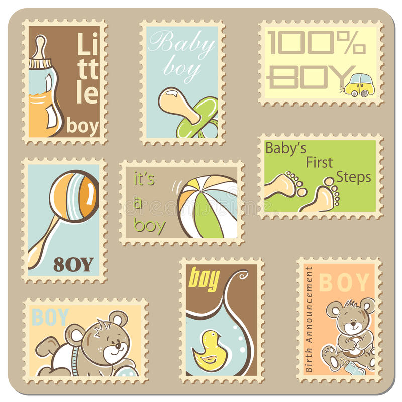 Download Baby boy announcement card stock illustration. Illustration of adorable - 15718266