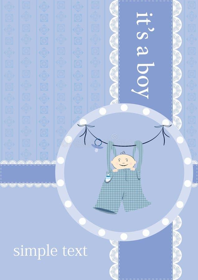 Baby boy announcement card. Vector illustration stock illustration