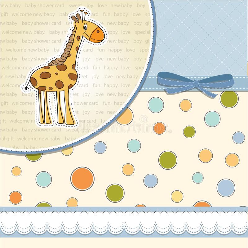 Baby boy announcement card with giraffe. New baby boy announcement card with giraffe royalty free illustration
