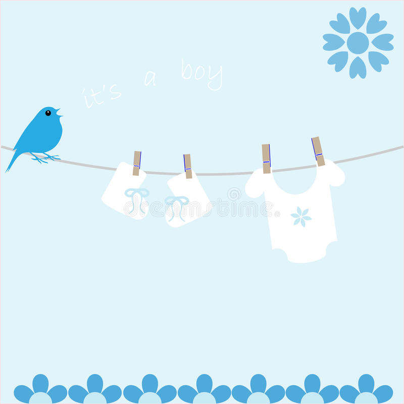 Baby Boy Arrival Announcement card. Cute new baby boy arrival announcement card with bird singing it's a boy on washing line royalty free illustration
