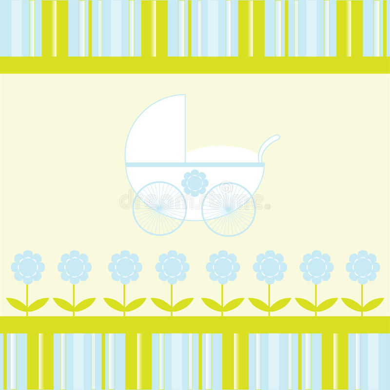 Download Baby Boy Arrival Announcement Card Stock Illustration - Illustration of floral, pram: 15326194