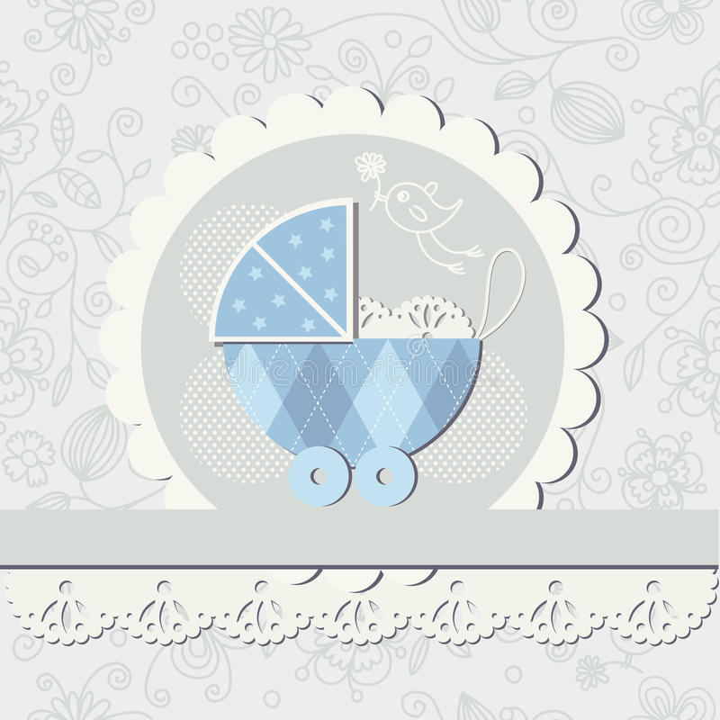 Baby boy arrival announcement card royalty free illustration
