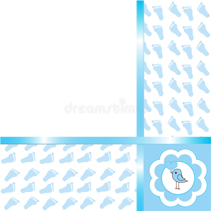 Baby boy arrival card royalty free illustration