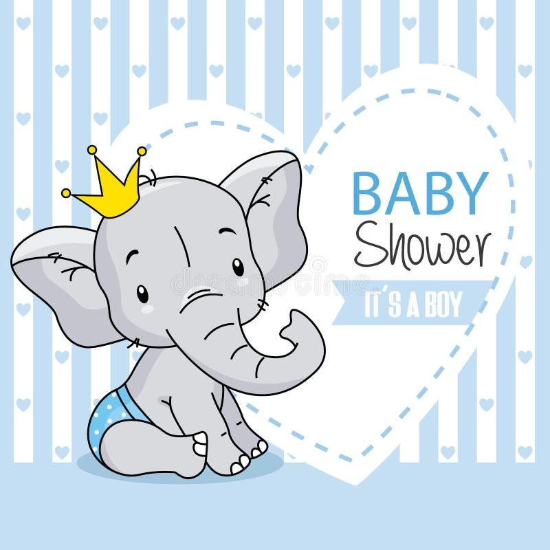 Baby boy arrival card. cute baby elephant. stock illustration