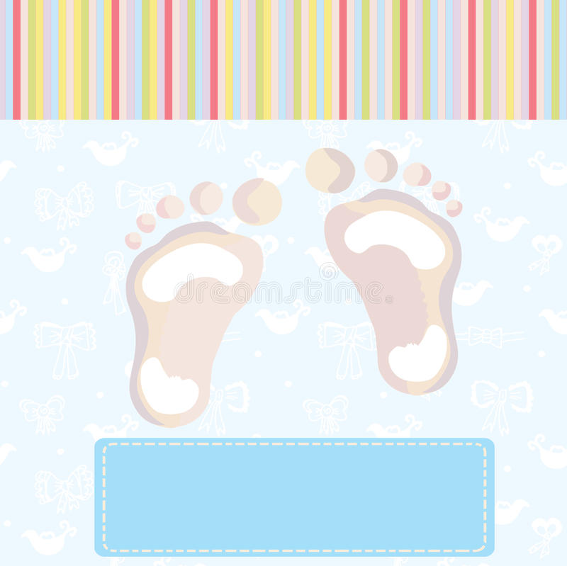 Baby boy arrival card with footprint royalty free illustration