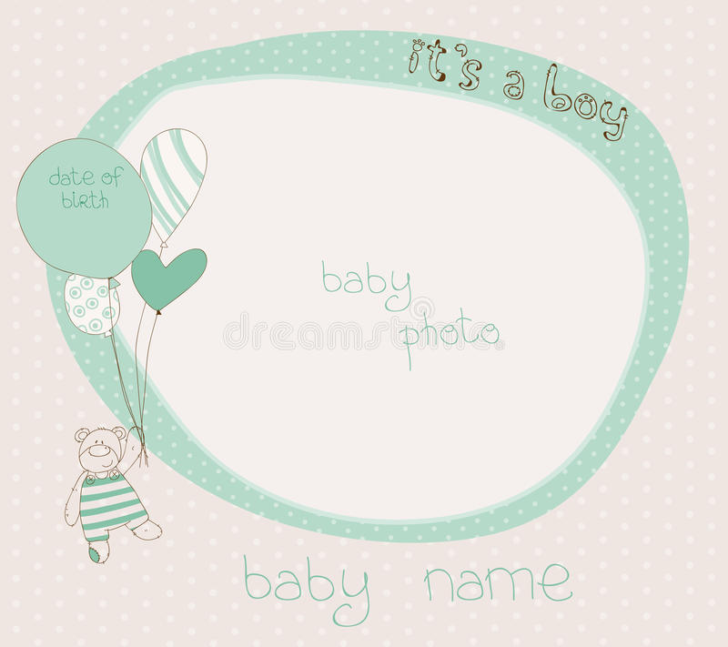 Baby Boy Arrival Card with PhotoFrame royalty free illustration