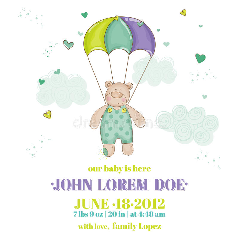 Download Baby Boy Arrival Card stock vector. Image of celebration - 41188210
